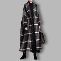 Black plaid cloak woolen coat, Women's winter Coat, Hooded midi Coat, Wool cape, Women overcoat, Bat sleeve woolen overcoat