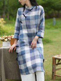 Women's long sleeves Blue and white grid Dress, Cotton dress handmade, Maxi Dresses, linen dress long, Buttoned dress, Vintage kaftan dress