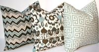 Decorative Throw Pillow Covers Accent Pillows 18 x 18 Wonky Chevron, Floral Ikat and Greek Key Combo