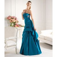 Simple Ball Gown Strapless Beading Ruching Floor-length Satin Cocktail Dresses - Dressesular.com