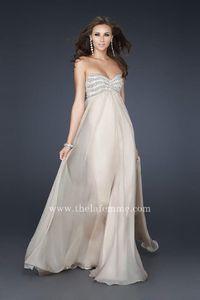 Nude A Line Strapless La Femme 17474 Long Prom Dresses Embellishments Bust
