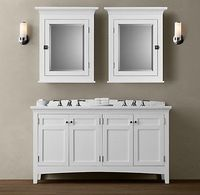 "RH med cabinets over 60"" vanity with 2 sconces (note sconces are to the sides of the vanity)"