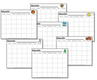Free printable seasonal calendar worksheets includes 17 different calendar choices. Child fills in the numbers.