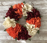Fall Floral Felt Wreath - Great for Indoor or Outdoor (covered) Use. $64.99
