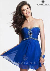 Beaded Faviana 7431 Short Homecoming Dresses