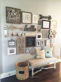 """Living Room decor �€"""" rustic farmhouse style. Wall decor reclaimed wood gallery wall. 23 Rustic Farmhouse Decor Concepts 