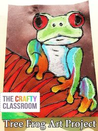 Stunning Tree Frog Art Project for Kids! Glue + Oil Pastel, Includes full photo tutorial