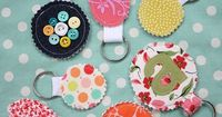 Fabric Scrap Keychains : could go CaZy w/ this one! Can use Cricut or Big Shot dies to cut shapes, letters, etc.