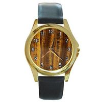 Beautiful TigerEye Stone Look on a Mens or Womens Gold Watch with Leather Band $32.00