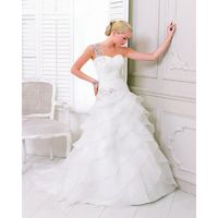 Simple A-line One Shoulder Beading Lace Sweep/Brush Train Organza Wedding Dresses - Dressesular.com