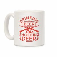 Who do you know who would love this? Drinking Beer and Shooting Deer Ceramic Coffee Mug Handcrafted in the USA! $15.99