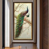Peacock decor wall Picture Oil Painting on Canvas original art animal art green cuadro abstracto tree abstract bird large home decor $189.00
