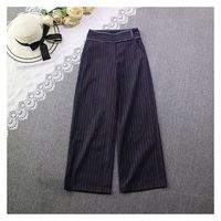Buttons Zipper Up Stripped Wide Leg Pant Casual Trouser - Discount Fashion in beenono