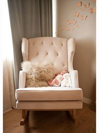 I SO want an oversized chair for my kids rooms... To rock in and eventually sit together and read in :) light pink for my daughter and baby blue for my son