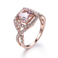 8MM CUSHION CUT MORGANITE AND DIAMOND ENGAGEMENT RING 14K ROSE GOLD HALO TWISTED INFINITY BAND