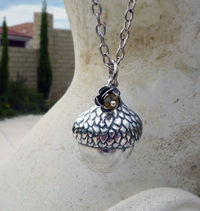 Silver Acorn Pendant Necklace , Antique Silver, Woodland Necklace, Rose Charm, Citrine Crystal, Nature Necklace