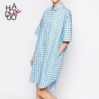 Oversized Printed Solid Color 1/2 Sleeves High Low Lattice White Blue Blouse Dress - Bonny YZOZO Boutique Store