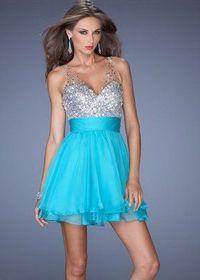 Chiffon Short Crystal Beads Aqua Sheer Straps Cocktail Dress