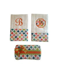 Personalized Baby Burp Cloth and Wipes Case Set Gender Neutral on Etsy, $30.00