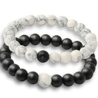 Charm Women Men Stone Bead Bracelet Set