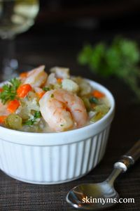 Chowder doesn't always have to be heavy and dense - We've loaded our Skinny Seafood Chowder with root vegetables, shrimp, and fresh cod for a clean-eating meal