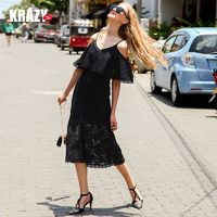 Elegant Frilled Curvy Mermaid Off-the-Shoulder Lace Black Mini Dress Formal Wear - Bonny YZOZO Boutique Store