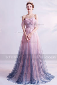 Bling Ombre Pink Off the Shoulder Prom Dress TB308