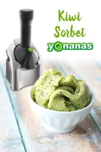Enjoy the sweet citrus-like flavor of kiwi in this simple sorbet recipe. TIP: Allow kiwi to thaw for approximately 15 minutes in order to have them transform in