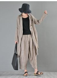 Grey linen cardigan women, Suit Collar Ladies Top, Linen Top, Thin Linen Long Top, Textured Linen Shirt, Linen cardigan jacket