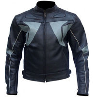Black Gray Stripes Biker Leather Jacket $189.00