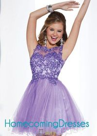 Sleeveless Sequined Lace Sheer Bodice Lilac Homecoming Dress