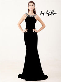 Long Black Bead Halter Angela and Alison 41043 Evening Dress