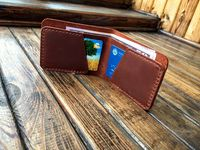 Mens Bifold Leather Wallet, Minimalist Slim Wallet Rustic Brown, Genuine Leather Hand Stitched, Crazy Horse Cognac Wallet, Gift for Him $39.99