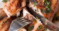 Pollo al Forno (Roast Chicken)...take a look at the wonderful sauce - great recipe by Jonathan Waxman, Barbuto Restaurant