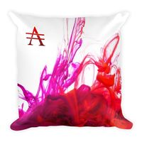 Purple and Red Ink Pool on White Square Pillow $25.00