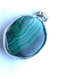 Oval, Malachite pendant, Made using Tiffany method to produce a quirky and succulent necklace. £10.00