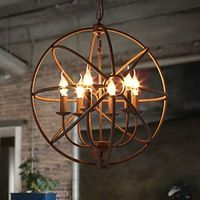 Wrought Iron American Retro Candle Chandelier The Black Chandelier Villa Ceiling Lights