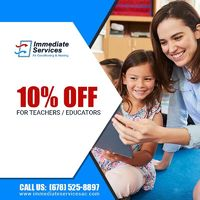 Immediate Services Air Conditioning and Heating is providing 10% off on services for teachers.Contact us at 678-525-8897 to grab the deal.