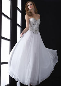 2015 White Strapless Beaded Top Chiffon Evening Gown