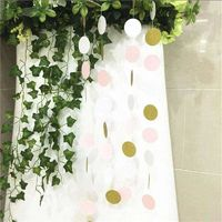 3 Meters Pink White and Gold Glitter Polka Dots Paper Garland Banner Home Party Wedding Decoration Supplies $4.99
