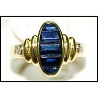 Genuine 18K Yellow Gold Diamond For Men Blue Sapphire Ring [RQ0039]