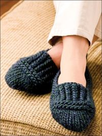 'Ruggedly Warm Loafers' knitting pattern -- Extra-thick and richly textured, these ribbed slippers will keep the chill of winter floors at bay This e-pattern was originally published in Knit a Dozen Plus Slippers. unisex S through L. Made with sup...