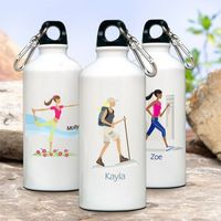 """Give your favorite gal a pat on the back with this personalized aluminum water bottle from our modern """"Go-Girl"""" collection. Each personalized water bottle includes a trendy """"Go-Girl"""" icon. Our roomy, 20 ounce, aluminum, eco-friendly bo..."""