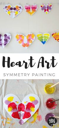 Use this symmetry painting technique to create unique heart art for Valentine's Day. This is an easy and fun art activity for kids of all ages, from toddlers on