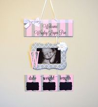 Girl Hospital Door Hanger Welcome Baby Girl Sign by OliveYewToo