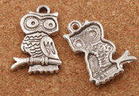 Pack of 20 Silver Coloured Metal Owl On Branch Charms. Nature Theme Wisdom Pendants. 22mm x 14mm £8.99