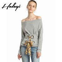 Vogue Sexy Hollow Out Curvy Bateau Off-the-Shoulder One Color Fall Tie 9/10 Sleeves T-shirt - Bonny YZOZO Boutique Store