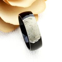 8mm Black Tungsten Wedding Band Promise Ring Custom Finger Print Engraved Ring Free Inside Engraving Personalized Wedding Band $69.00