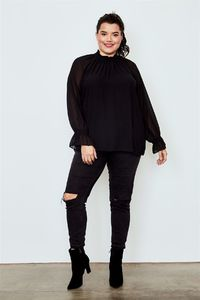 Plus Size Black Long Sleeve Ruffled Top $24.00