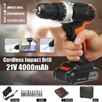21V 4000mAh Li-ion Cordless Electric Impact Drill 18+3 Clutches 2 Speed Power Drills With 2 Batteries